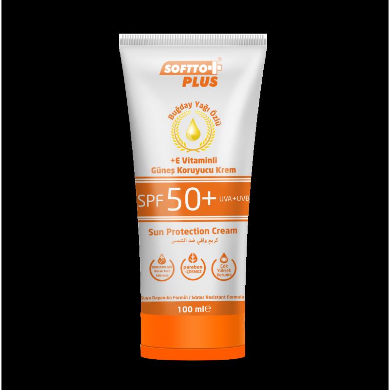 Softto Plus SPF 50 Güneş Kremi 100 ml Buğday Özü Yağlı ve E Vitaminli