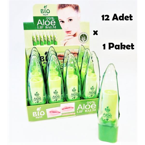 Bio Aloe Lip Balm 12 Adet/1 kutu Aloe Vera Dudak Bakım Lipsi