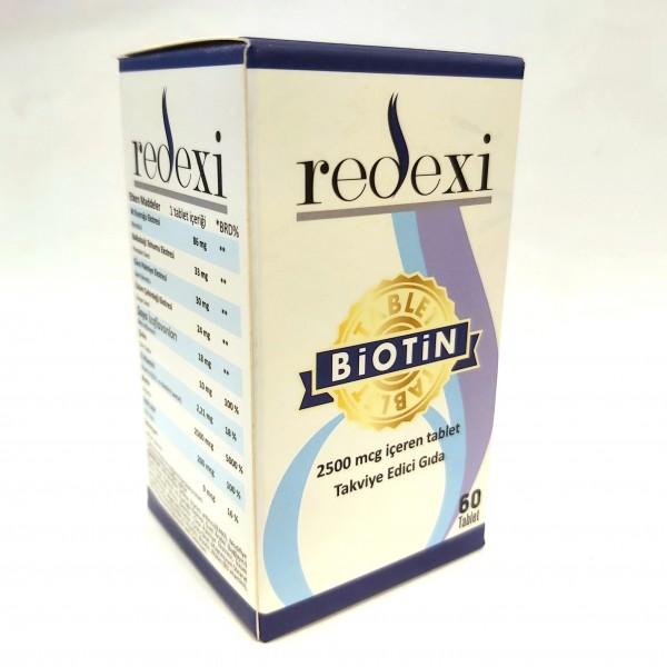 Redexi Biotin Takviye Edici Gıda / Saç Tırnak ve Cilt / 60 Tablet / Ücretsiz Kargo